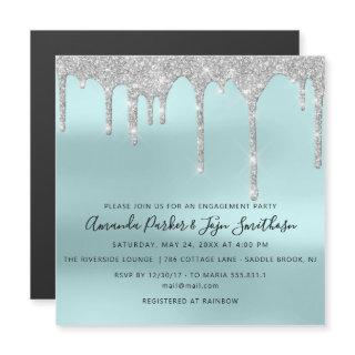 Gray Silver Spark Drips Bridal Wedding Tiffany Magnetic Invitations