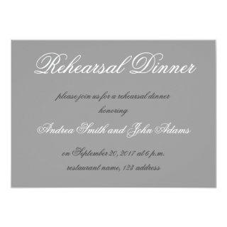 Gray Simple Script Rehearsal Dinner Invitations