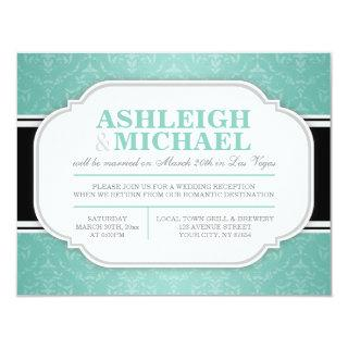 Gray & Teal Damask Wedding Reception ONLY Invitation