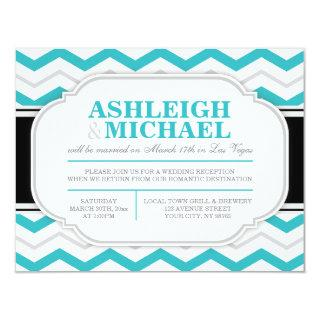 Gray & Turquoise Chevron Wedding Reception ONLY Invitations