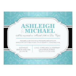 Gray & Turquoise Damask Wedding Reception ONLY Invitations