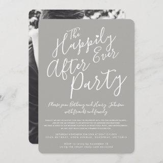 Gray white happily ever after wedding party