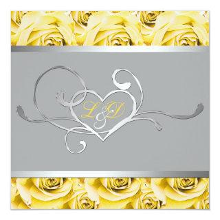 Gray with Yellow Roses Monogrammed Invitations