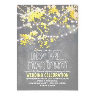 Gray yellow wedding Invitations with string lights
