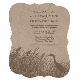 Great Blue Heron silhouette rustic wedding Invitation