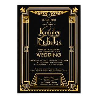 Great Gatsby 1920s Art Deco Inspired Wedding Invitations
