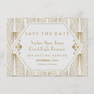 Great Gatsby Art Deco Gold White Save The Date