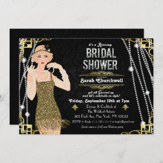 Great Gatsby Flapper Girl Bridal Shower Invitations