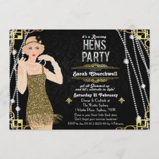 Great Gatsby Flapper Girl Hens Party Invitations