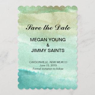 green abstract watercolor save the date