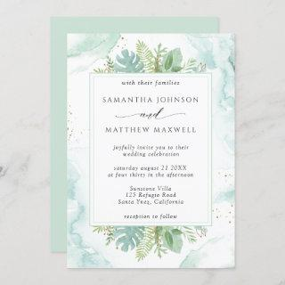 Green and Blue Watercolor with Greenery Wedding