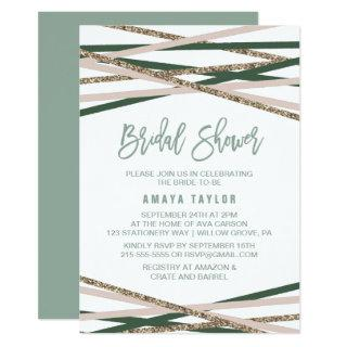 Green and Blush Streamers Bridal Shower Invitation