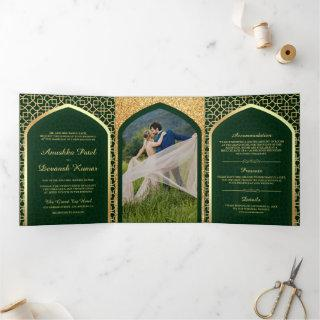 Green and Gold Bollywood Style Indian Wedding Tri-Fold Invitations