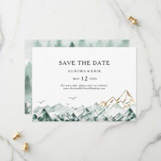 Green and Gold Mountain Horizontal Save the Date
