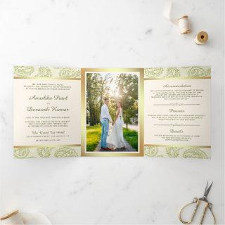 Green and Gold Paisley Indian Style Wedding Photo Tri-Fold Invitation