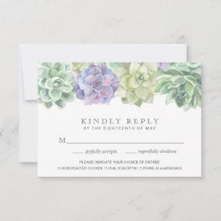 Green and Purple Succulents Meal Choice Wedding RSVP Card