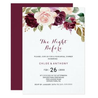 Green Blush Burgundy Floral The Night Before Invitations