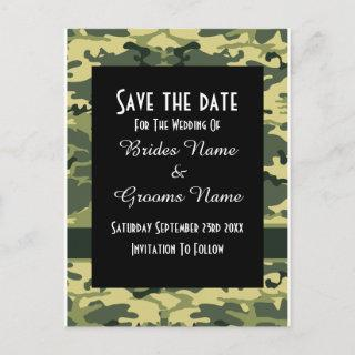Green camouflage pattern save the date announcement postcard