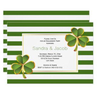 Green clover, stripes wedding engagement party invitation
