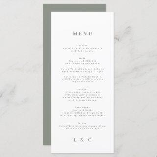 Green Elegant Moss Simple Sage White Monogram Menu