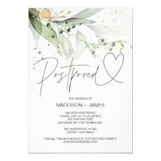 Green Eucalyptus Wedding Postponed Change the Date Invitations