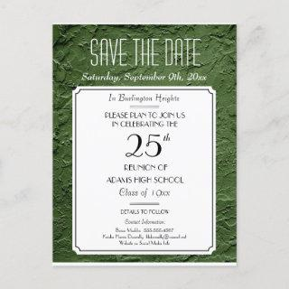 Green Faux Textured Party or Reunion Save the Date Announcement Postcard
