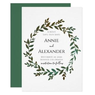 Green Foil Leaves Save The Date Invitation