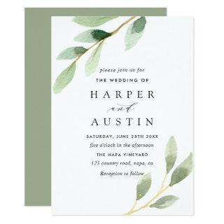 Green Foliage Botanical Wedding Invitations