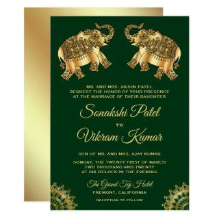 Green Gold Ethnic Elephants Indian Wedding Invite