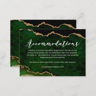 Green Gold Glitter Agate Accommodations Enclosure Card