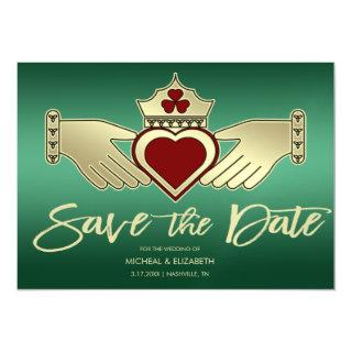 Green Gold Maroon Red Claddagh Save The Date Magnetic Invitations