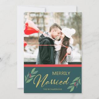 GREEN GOLD RED BERRIES MERRILY MARRIED PHOTO HOLIDAY CARD