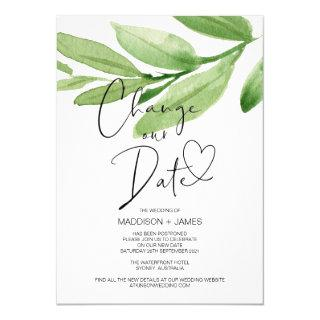 Green Leaves Change the Date Wedding Postponed Invitation