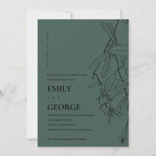 GREEN LINE DRAWING FLORAL WE TIED THE KNOT INVITE
