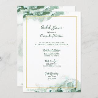 Green Marble Ombre Gold Frame Bridal Shower Invitation