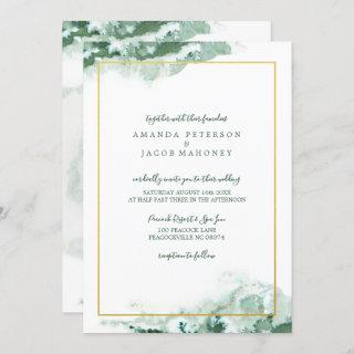 Green Marble Ombre Gold Frame Wedding Invitations