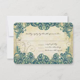 Green Navy Blue and Gold Peacock Wedding RSVP