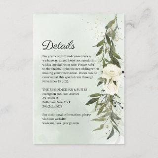 Green Olive Wreath White Roses Wedding Details Enclosure Card