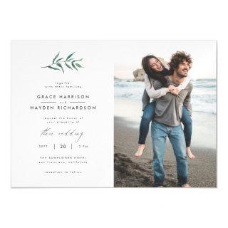 Green Painted Botanical Minimalist Wedding Photo Magnetic Invitations