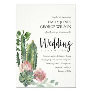 GREEN PINK FLORAL DESERT CACTI FOLIAGE WEDDING Invitations