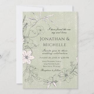 Green Pink Floral Garden Wreath Christian Wedding Invitations