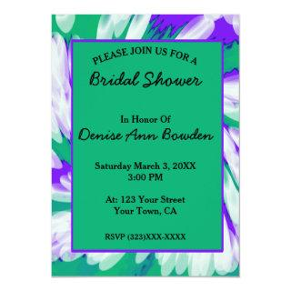 Green Purple Tie Dye Swirl Bridal Shower Invitations