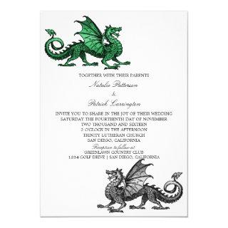 Green Silver Dragon Wedding Invite