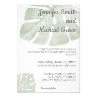 Green tropical wedding Invitations modern floral