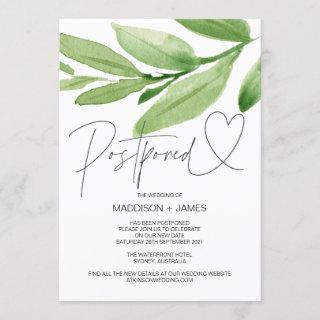 Green Tropical Wedding Postponed Change the Date Invitations