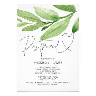 Green Tropical Wedding Postponed Change the Date Invitation