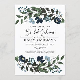 Greenery and Blue Flowers Bridal Shower