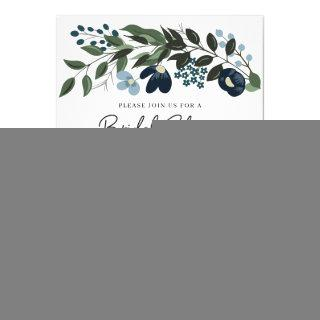 Greenery and Blue Flowers Bridal Shower Invitations