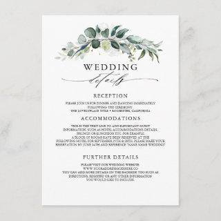 Greenery and Eucalyptus Wedding Information Guest Enclosure Card