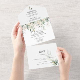 Greenery and Gold Botanical    All In One Invitation